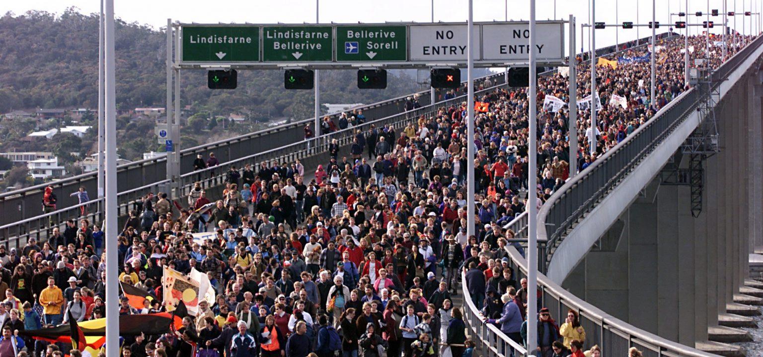 23 July, 2000: Crowds walk across the Tasman Bridge for Reconciliation Day in Tasmania